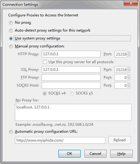 Firefox Proxy Options