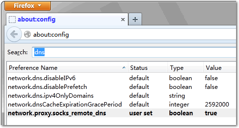 firefox remote dns settings