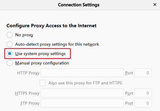 Firefox Uses System Proxy